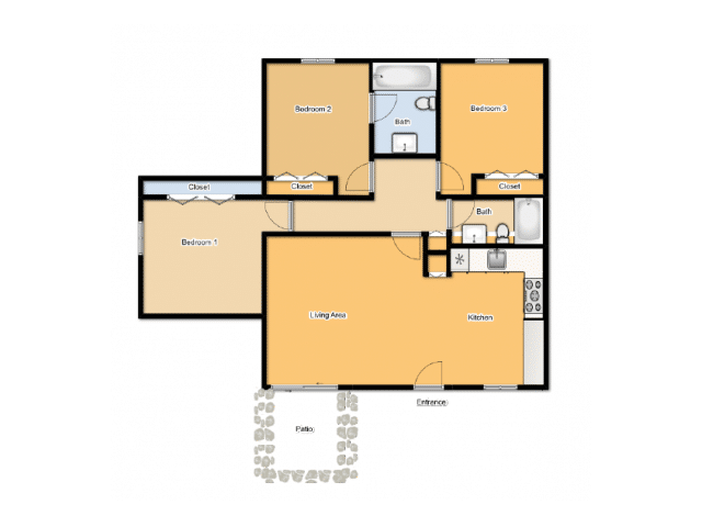 THREE BEDROOMS / TWO BATHROOMS
