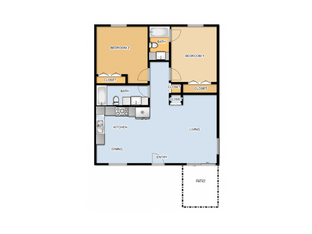 TWO BEDROOMS / TWO BATHROOMS