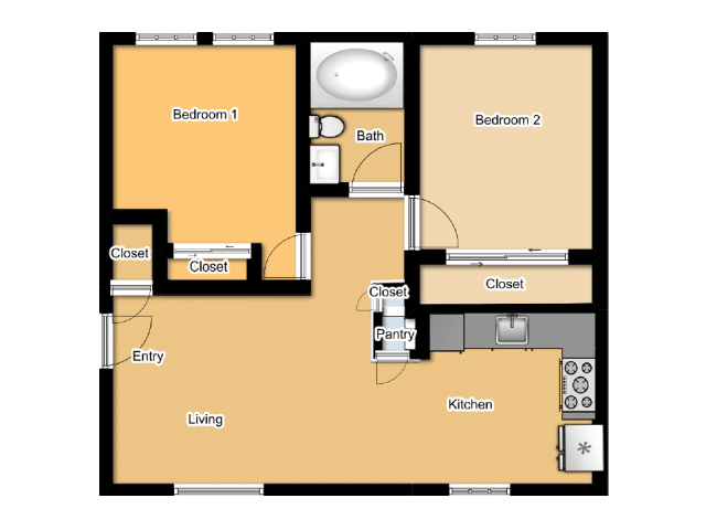TWO BEDROOMS / ONE BATHROOM
