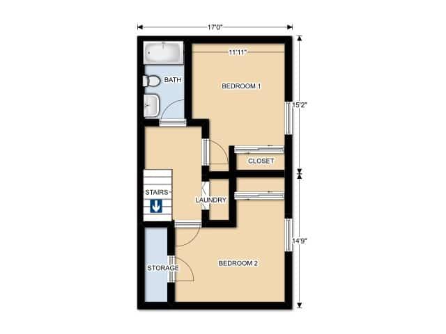 TWO BEDROOM/ ONE BATHROOM UPPER